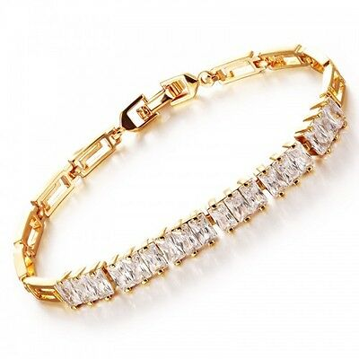 Gorgeous Brand New 18K Yellow Gold Plated & Clear Cubic Zirconia Tennis Bracelet