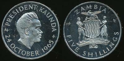 Zambia, Republic, 1965 5 Shillings, (1st Anniversary of Independence) - Proof