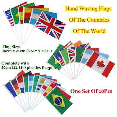 """One Set 10pcs Hand Waving Flags,Flag is 5.51""""x 7.87"""",National flags of the World"""
