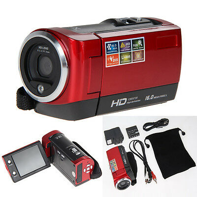 """720P Digital Touchscreen Camcorder Video Camera DV DVR 2.7"""" LCD 16MP ZOOM Red"""