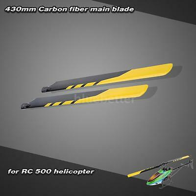 Carbon Fiber 430mm Main Blades for RC 500 Helicopter Yellow High Quality R04U