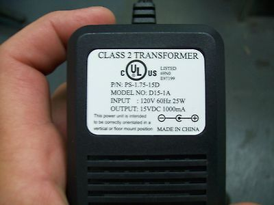 15V DC 1A Power Adapter Supply Center Positive 120V 60Hz 25W  Fast Shipping!!!