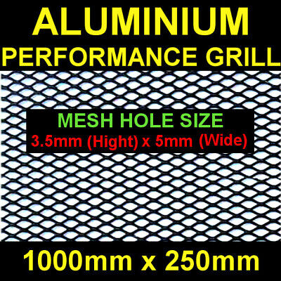 Black Aluminium Racing Grille Net Vent Race Car Tuning 25x100cm Mesh 3,5x5mm