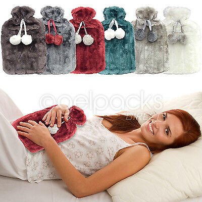 Country Club Luxurious 2lr Funky Faux Fur Hot Water Bottle Ideal For Cramps