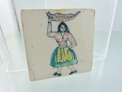 """VINTAGE MEXICAN LADY WITH BASKET ON HEAD FOLK TILE  2 5/8"""" x 2 5/8"""""""