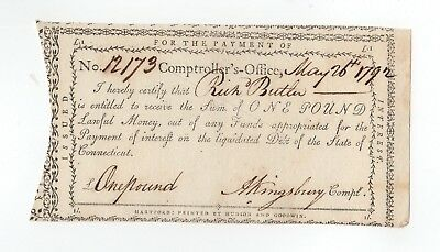 1792 Payment Note - A. Kingsbury, Comptroller CONNECTICUT