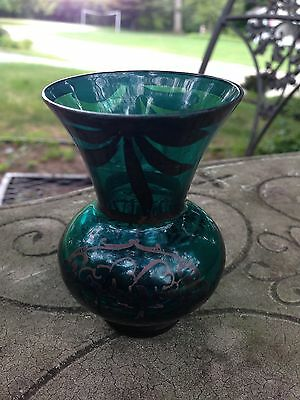 Emerald green glass miniature vase, painted with pewter design - 3""