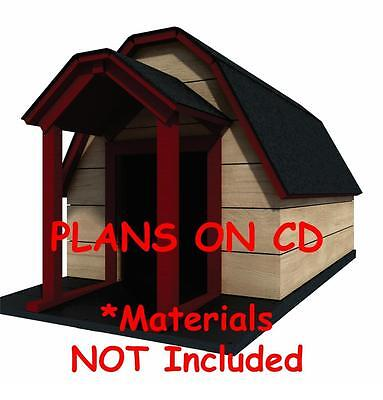 """Gambrel Roof 48/"""" x 60/"""" Dog House Plans 08 Large Dog Pet Size To 150 lbs"""