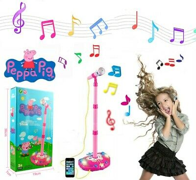 10New Peppa Pig Stand Musical Microphone Voice Tube Toy Music Sound Light