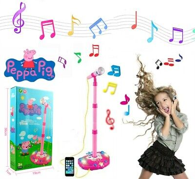 New Peppa Pig Stand Musical Microphone Voice Tube Toy Music Sound Light