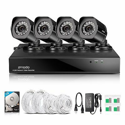 Zmodo 8CH NVR 4 1080p sPoE IP Network Outdoor IR Home Security Camera System 1TB
