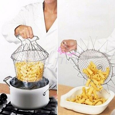 Silver Top Foldable Chef Kitchen Tool For Plate Fold Flat Storage Strain Basket