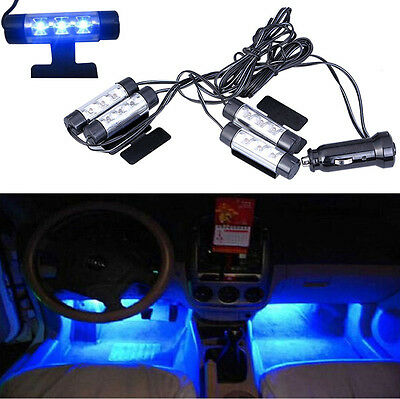 New 4X3 LED Atmosphere Lights 12V Car Auto Interior Decorative 4 in 1 Lamp Blue