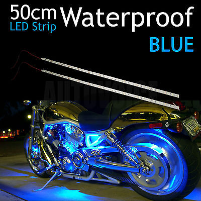 2pcs 3528-SMD Chips 12V Blue Waterproof Motorcycle Car Bike 50cm LED Strip Light