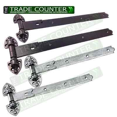 """2x Reversible Gate Hinge Heavy Hook And Band Stable Door 20"""" & 24"""" BLACK or GALV"""