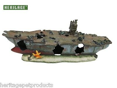 Heritage Ws007Am Aquarium Fish Tank Aircraft Carrier Ship Wreck Ornament 40Cm