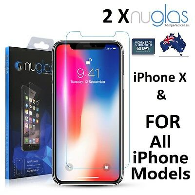 2XGenuine NUGLAS Tempered Glass Screen Protector Apple iPhone X XS Max 8 7 6Plus