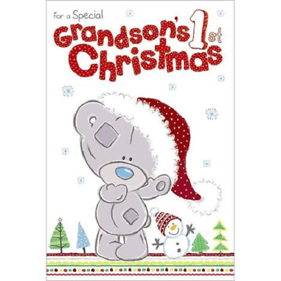 Me To You For A Special Grandson's 1St Christmas Card Tiny Tatty Teddy Bear New
