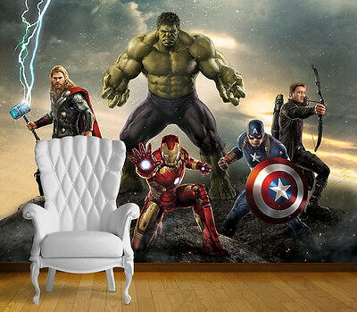 Avengers Super Hero Wall Art Wall Mural Any Size Self Adhesive Vinyl Decal V6
