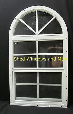 Arched Shed Window 18x3 Safety Glass White Playhouse Storage Shed Barn Coop