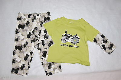 1f55c371bba70 TODDLER BOYS L/S Outfit LIME Shirt BLACK GRAY CAMO PANTS 12 18 24 MO ...