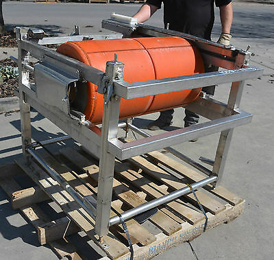 Pair of very heavy duty stainless conveyor end rollers and belt tensioners