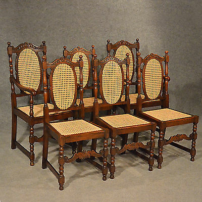 Antique Oak Chairs Set 6 Kitchen Dining Country Quality Bergere Art Deco c1950 • £895.50