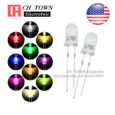 10 Lights 200pcs 5mm LED Diodes Water Clear White Red Purple/UV Pink Mix Kits