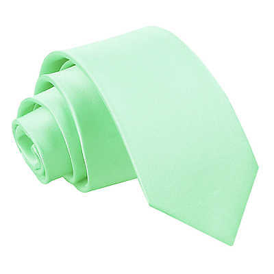 New DQT Plain Mint Green Slim Tie