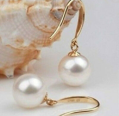 real charming perfect Akoya 9-10mm white pearl Earring 14k yellow gold hook