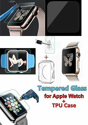 Apple Watch Tempered Glass Screen Protector for 38mm 42mm + TPU Case Film iWatch