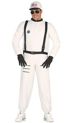 Mens White Astronaut Space Cadet American Fancy Dress Costume Outfit Size Large