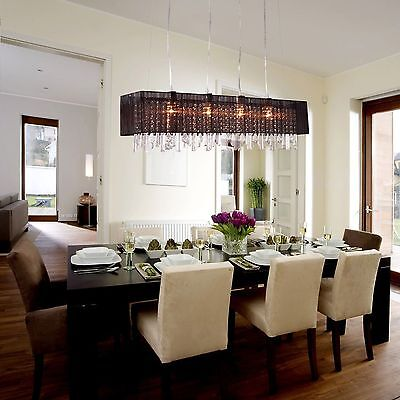 Crystal Home Chandelier Ceiling Light Fixture Dining Room Pendant 4Lamp 60W US