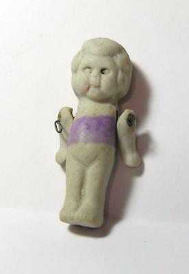 "Vtg Teeny 1 3/4"" Miniature 1940's Bisque Porcelain Kewpie Baby Doll House Doll"