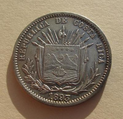 1893 Costa Rica 25 Centavos Cents Silver Coin HEATON Central America KM#130