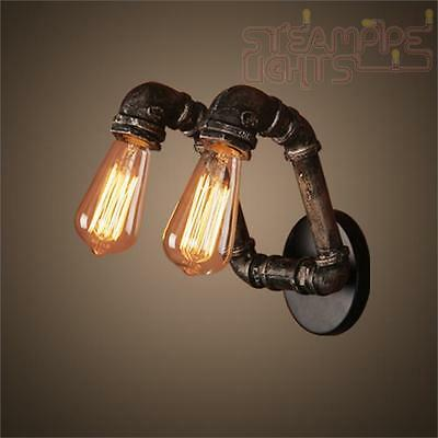 Designer Pipe Light Wall Sconce Vintage Decor Steam Punk Industrial Dining Hall