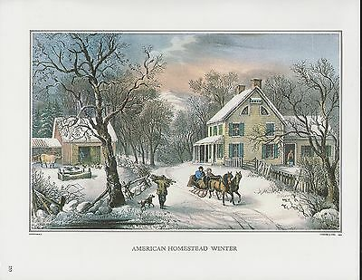 """1972 Vintage Currier & Ives """"AMERICAN HOMESTEAD WINTER"""" Color Print Lithograph"""