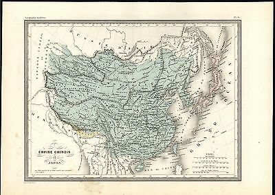 Empire of China Bhutan separate Tibet Formosa c.1870 antique engraved color map