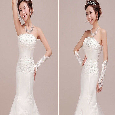 New White Bride Wedding Party Dress Fingerless Pearl Lace Satin Bridal Gloves US
