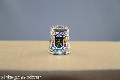 Vintage Thimble Silver Plated Metal, Enameled Schloss Castle / Heidelberg C of A