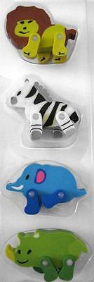 Bulk Pack of 4 Mixed Zoo Jungle Rubber Erasers Moving Legs Kids Party Favors NEW
