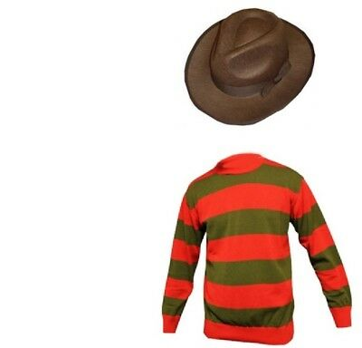 Unisex Kids Freddy Halloween Krueger Horror Fancy Dress Hat Jumper & Glove Set