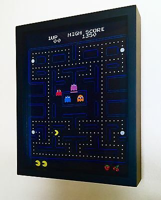 NEW Vintage PACMAN Shirt Framed! Wood Frame~PAC MAN Video Game Wearable Art!
