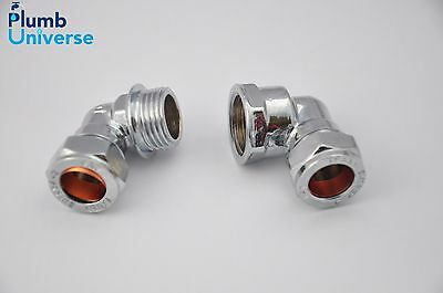 "Chrome Compression Elbow 15mm x 1/2"" BSP Chrome Plated Brass Male or Female"