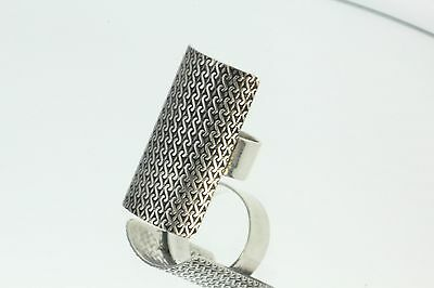 Sterling Silver Large Modernist Mexico HOB Ring Size 7