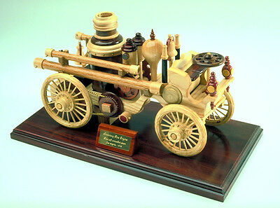A woodworking plan to build a steam fire engine.  An eligant firetruck in wood