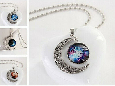 1pcs Fashion Retro Star Moon Time Pendant Necklace Sweater Chain Jewelry