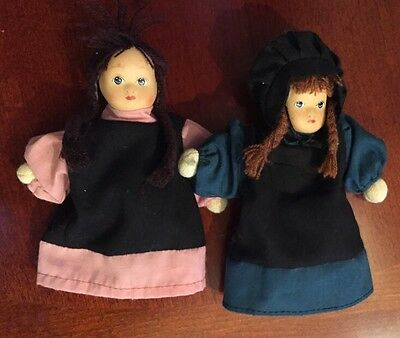 Springford Amish Dolls Porcelain Lot Of 2, Pink, Green, Braids, Black Bonnet
