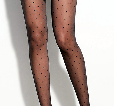 Vintage English Made Sheer Black Polka-dot Spot Dotty Spotty Stockings Sz 11