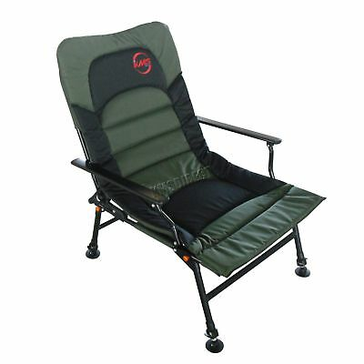 Fishing Arm Rests Chair Folding Camping Recliner 4 Adjustable Legs XL Dark Green